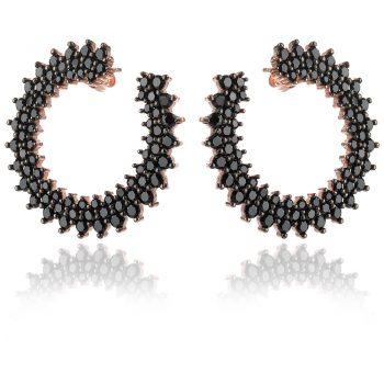 елегантни сребърни обеци, черен циркон, розова позлата