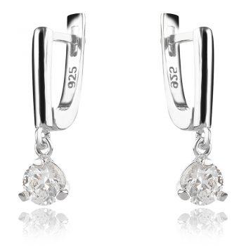 нежни сребърни обеци, кристал сваровски, родиево покритие