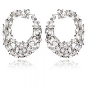 луксозни сребърни обеци, циркон багета, родиево покритие, балове