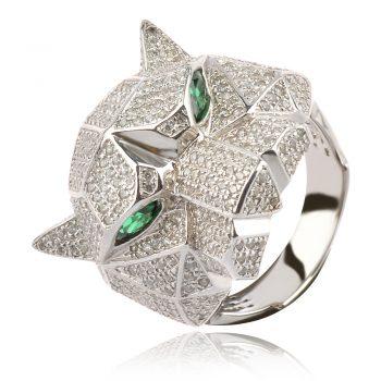 сребърен пръстен с пантера