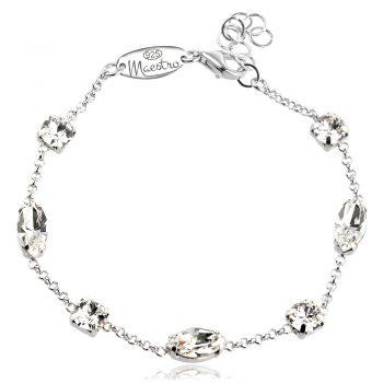 сребърна гривна с кристали сваровски swarovski