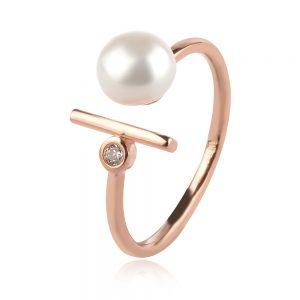 сребърен пръстен, перла, розова позлата