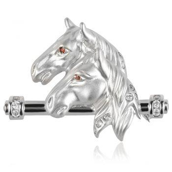 сребърна брошка коне