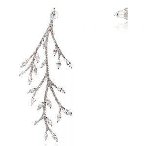 сребърни обеци с родиево покритие, клонка, цирконии
