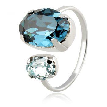 сребърен пръстен с кристали сваровски Swarovski