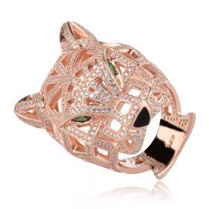 сребърен пръстен пантера, розова позлата