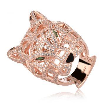 сребърен пръстен с пантера и розова позлата