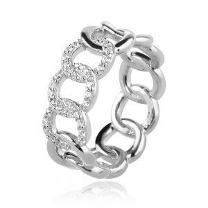 сребърен пръстен, тип халка, цирконии, родиево покритие