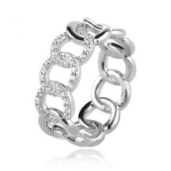 сребърен пръстен тип синджир