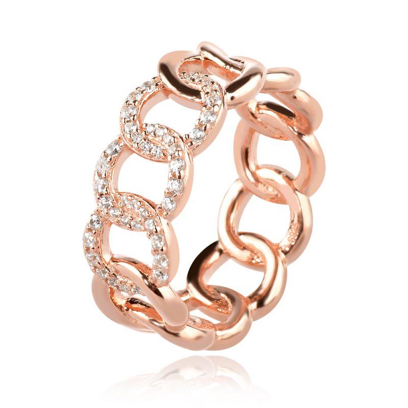 сребърен пръстен, тип халка, розова позлата, цирконии
