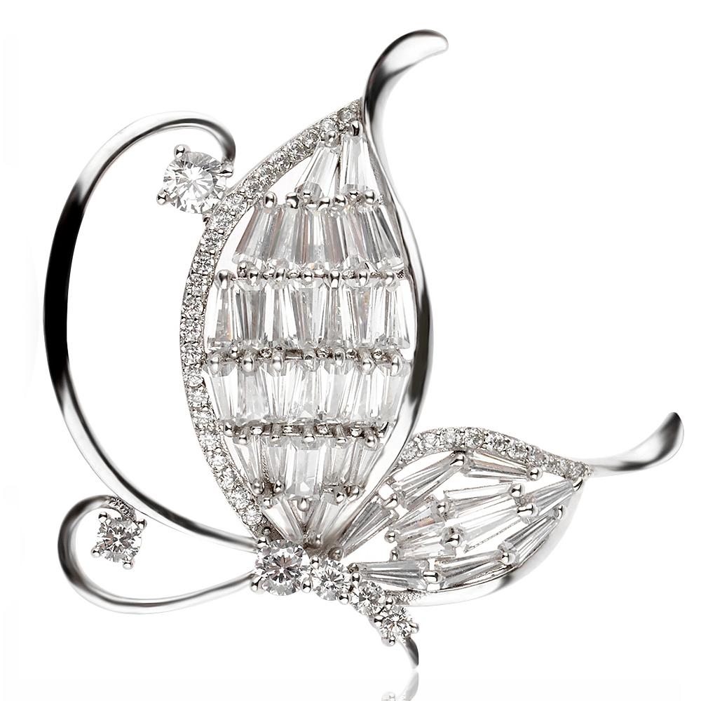 сребърна брошка, пеперуда, цирконии