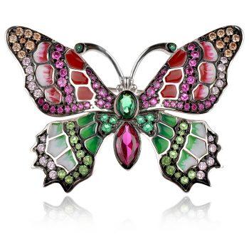 сребърна брошка пеперуда с цветен емайл