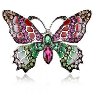сребърна брошка пеперуда, цветен емайл, цирконии, родиево покритие