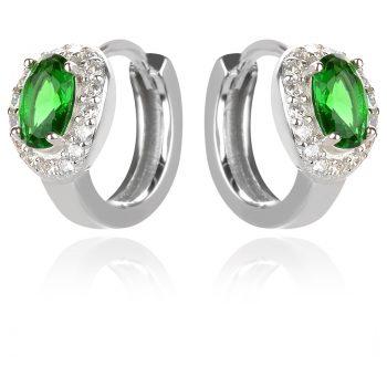 нежни сребърни обеци, малка халка, зелен циркон, родиево покритие