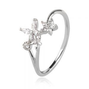 сребърен пръстен, цвете, цирконии, родиево покритие