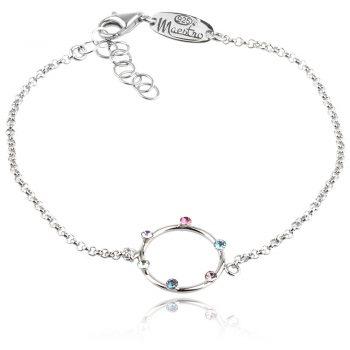 сребърна гривна с цветни кристали сваровски Swarovski