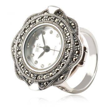 сребърен часовник пръстен с марказит