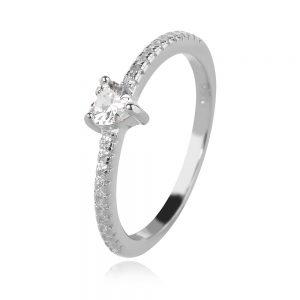 сребърен пръстен, сърце, цирконии, родиево покритие