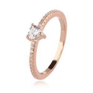 сребърен пръстен, сърце, розова позлата, циркони