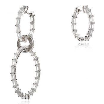 асиметрични ефектни сребърни обеци с циркони
