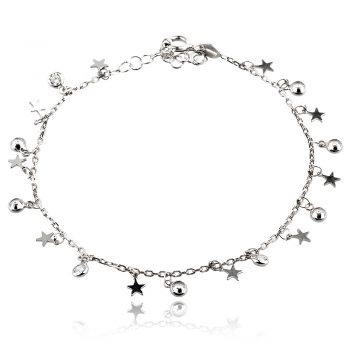 сребърна гривна със звездички и цирконии