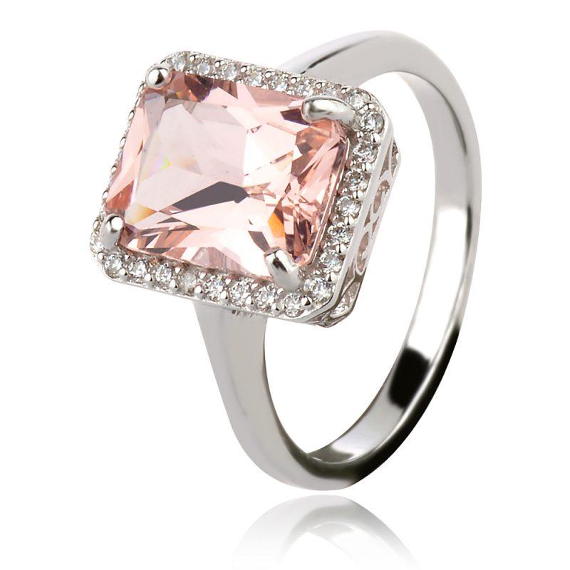 сребърен пръстен, морганит , правоъгълна форма, цирконии, родиево покритие