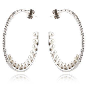 сребърни обеци халки с перли