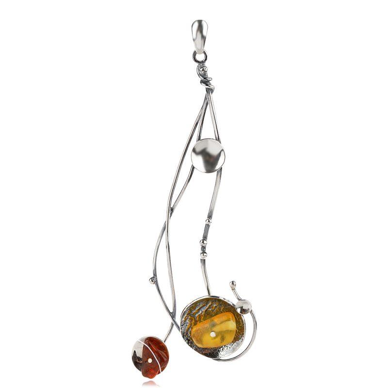 сребърен медальон, ръчна изработка, естествен балтийски кехлибар