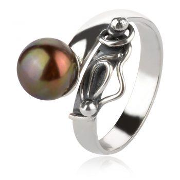 сребърен пръстен, тъмна перла, оксидирано сребро, ръчна изработка