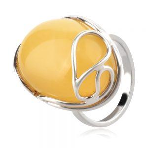 сребърен пръстен, естествен Балтийски кехлибар, млечно жълт цвят,