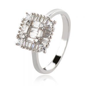 сребърен пръстен, циркон багета, квадратна форма, родиево покритие