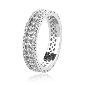 сребърен пръстен халка с цирконии