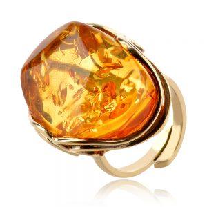елегантен сребърен пръстен, жълта позлата, естествен Балтийски кехлибар,