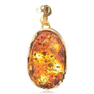 Сребърен медальон, жълта позлата, естествен Балтийски кехлибар с цвят на коняк