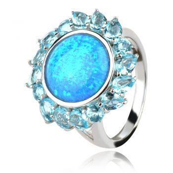 сребърен пръстен с пресован син опал и син топаз