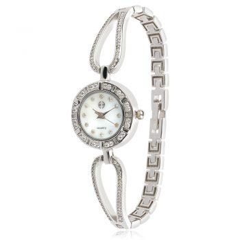 сребърен часовник с цирконии