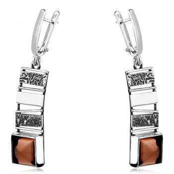 висящи сребърни обеци, ръчна изработка, опушен кварц, оксидирано сребро
