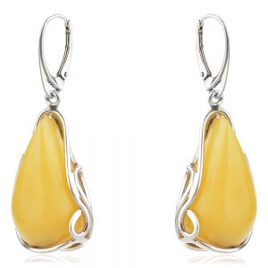 висящи сребърни обеци, естествен Балтийски кехлибар, млечно жълт цвят, капка,