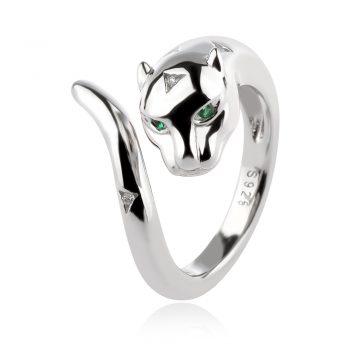 атрактивен сребърен пръстен, пантера, родиево покритие,
