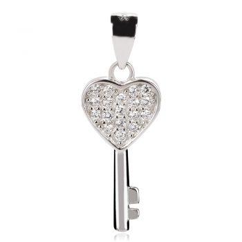 нежен сребърен медальон, ключ сърце, цирконии, родиево покритие,