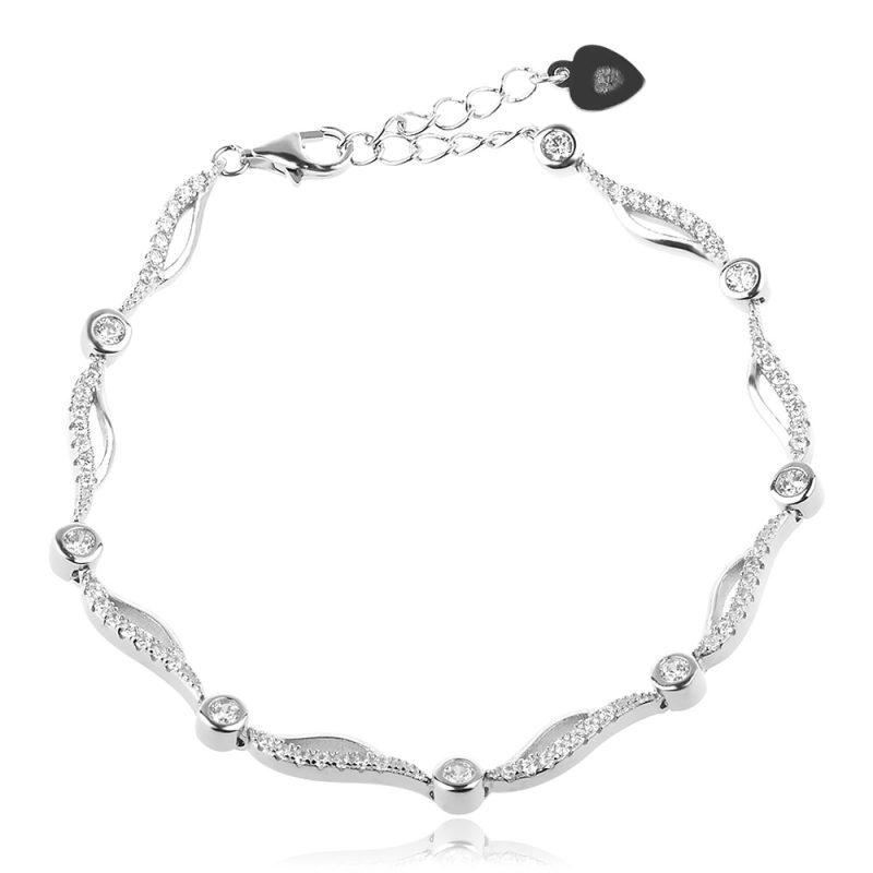 елегантна сребърна гривна, цирконии, родиево покритие,