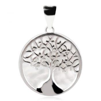 сребърен медальон, седеф, родиво покритие, дърво на живота,