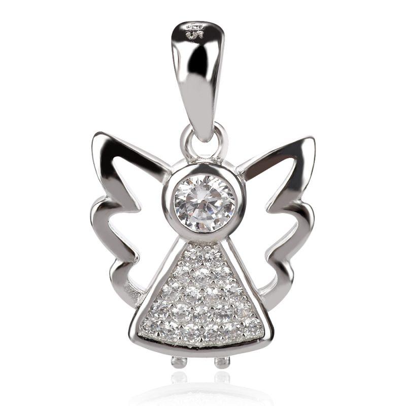 сребърен медальон, ангел, цирконии, родиево покритие