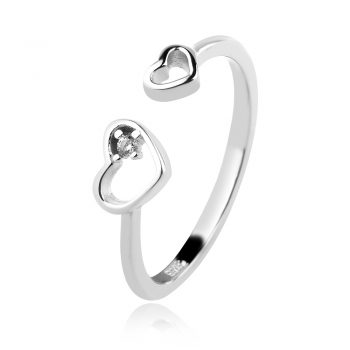 нежен сребърен пръстен, сърце, родиево покритие,