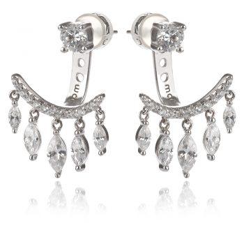 атрактивни сребърни обеци, висяща част по дължина на ухото, две части, цирконии