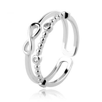 двоен сребърен пръстен, , знак безкрайност, родиево покритие, тип халка