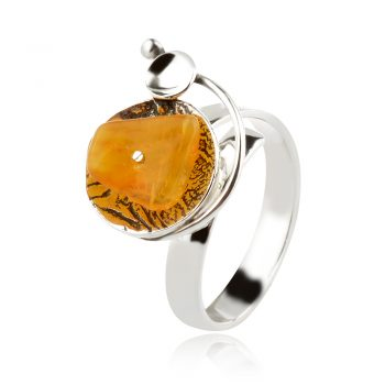 сребърен пръстен, естествен Балтийски кехлибар, ръчна изработка, оксидирано сребро,