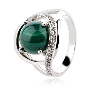 сребърен пръстен, малахит, цирконии, родиево покритие