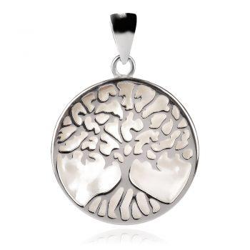 сребърен медальон, дърво на живота, бял седеф, родиево покритие,