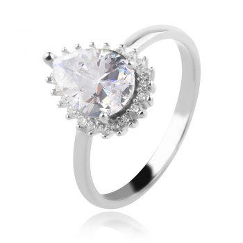 елегантен сребърен пръстен, циркон капка, родиево покритие,